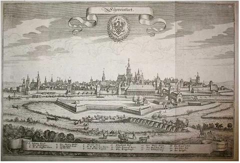 Gesamtansicht Schweinfurt von der Mittagseite (Süden) von Matthaeus Merian 1648