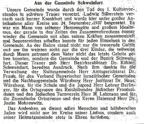"""Artikel in der """"Bayerischen Israelitischen Gemeindezeitung"""" vom 15. Oktober 1937"""