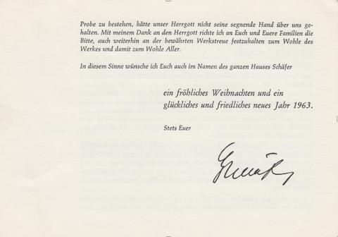 """Gerolzhofen"""" (Bild 2a, 2b Sammlung Gerhard Fiedler) 1962: Adventsschreiben, Beilage zur Lohntüte (Bild 2c, 2d Sammlung Gerhard Fiedler)"""