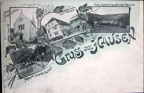 Totalansicht von HAUSEN b/ Schweinfurt                      Katholische Kirche in Hausen                      FRATZsche Brauerei            FRATZsche Gastwirtschaft - Aufschrift: H. Rohlacher - August 1897