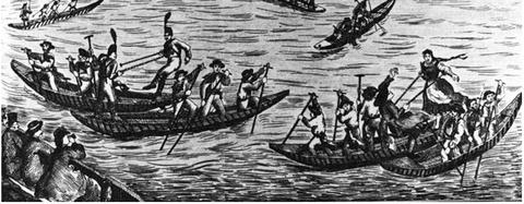 Fischerstechen im 19. Jahrhundert - Teilansicht einer Lithografie