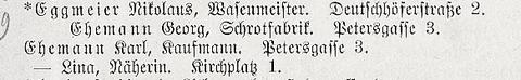 Ausschnitt aus dem Adressbuch 1895