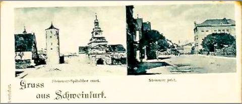 """Steinweg (heute Spitalstraße)  - einst und """"jetzt"""" - Karte um 1900"""