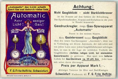 Im Fischerrain 15 war die Firma Fritz Hoffritz situiert, die hier für einen neuen Gasdruckregler auf einer Postkarte warb.