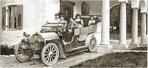 Familie Ernst Sachs mit Chauffeur