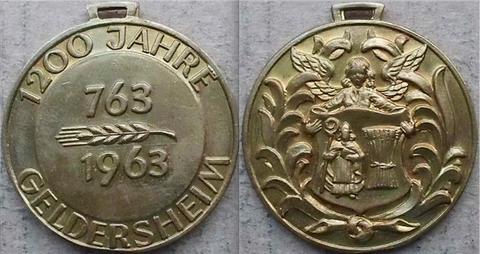 Gedenkmedaille 1963 zum 1200-jährigen Jubiläum der Gemeinde Geldersheim