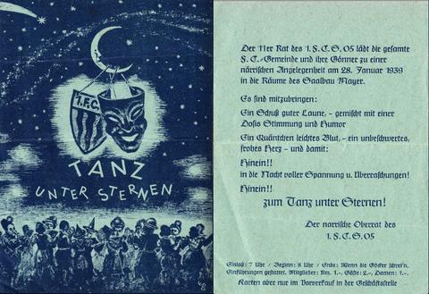 Der Fasching des 1. FC05 Schweinfurt 1939 war sicherlich bereits sehr vom Nationalsozialsmus und dem drohenden Krieg geprägt