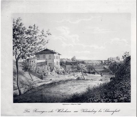 """Die Lithographie """"Das Reininger'sche Wohnhaus am Kiliansberg bei Schweinfurt"""" von Georg Christoph Adam Stößel  ca. 1855-1860 - Heute am Kiliansberg Nr. 2"""