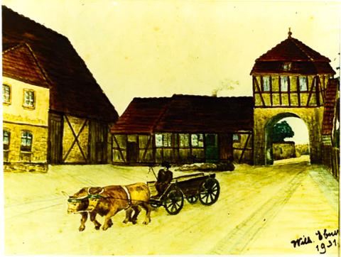 Unteres Dorftor mit Hirtenhaus in Richtung Röthlein Zeichnung v. Wilhelm Ebner 1931