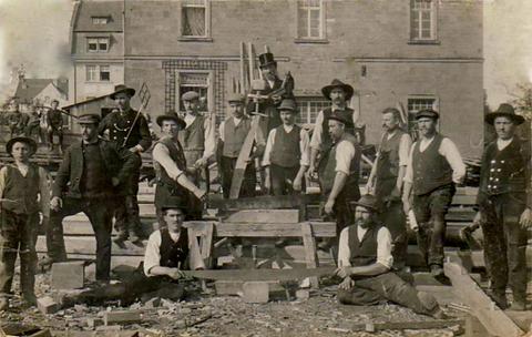Zimmerleute in Schweinfurt um 1919
