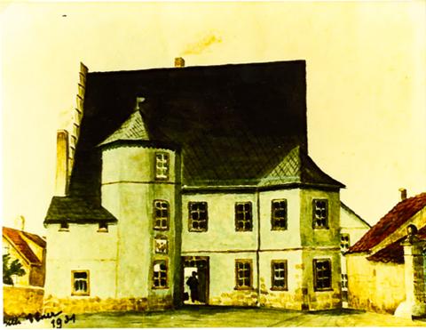 Ehemaliges Pflegerhaus - heute Pizzeria ai Due Galli - Zeichnung von Wilhelm Ebner