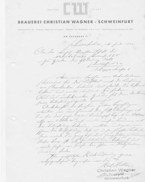 Brief der Brauerei Wagner 16.07.1940 - danke an Herrn Kurt Köhler