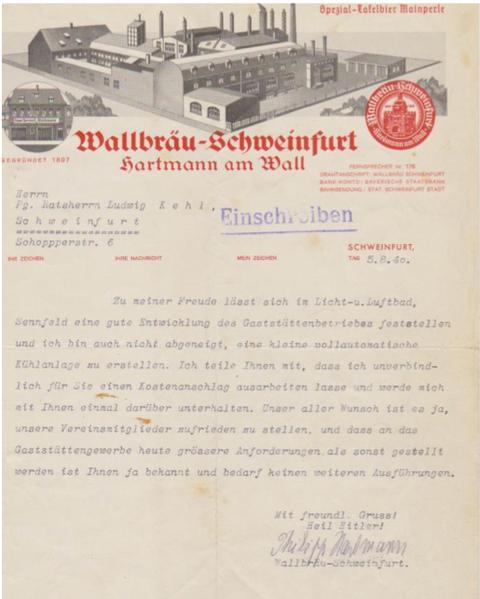 Brief der Brauerei Hartmann (Wallbräu) v. 5.8.1940 - danke an Herrn Kurt Köhler