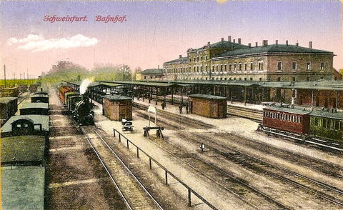 Der Schweinfurter Zentral-Bahnhof (heute Hauptbahnhof)