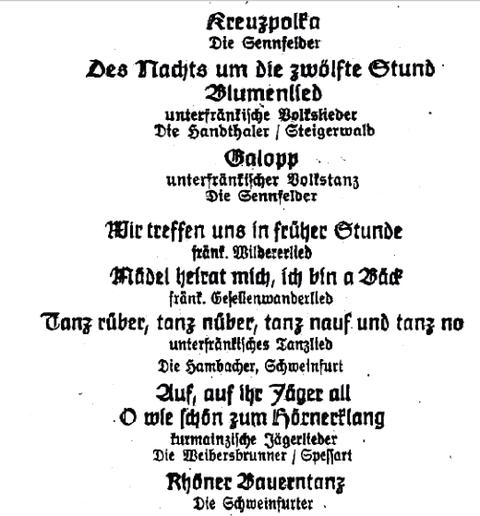 Auszug aus dem unterfränkischen Programm