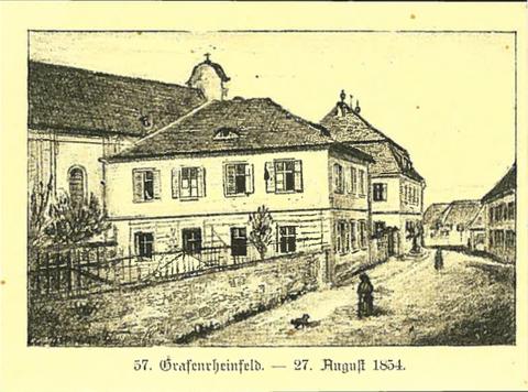 St. Maria-Pflege, Litografie v. 1889, einzige alte, druckgrafische Ansicht Grafenrheinfelds