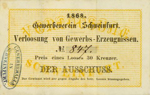 Los des Gewerbevereins Schweinfurt 1868