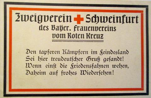 Postkarte des Bayer. Frauenvereins des Roten Kreuzes Schweinfurt ca. 1915/16