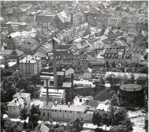 Luftbild 1959 - im Vordergrund das Gaswerk