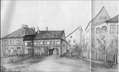Am alten Zwinger - Zeichnung (Kath. Geiger?)