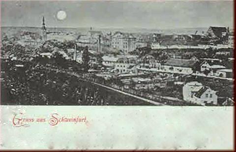Mondscheinkarte mit Ansicht vom Südosten her gesehen ca. 1899