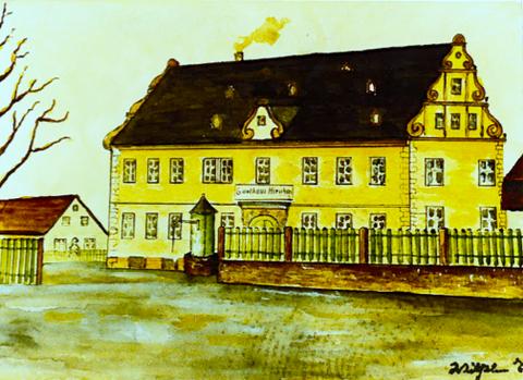 """Gasthof """"Zum Hirschen"""" - heute """"Alte Amtsvogtei"""" Zeichnung von Wilhelm Ebner"""