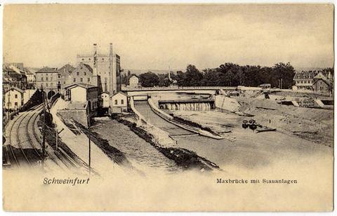 Der Main mit Stauanlagen um 1904