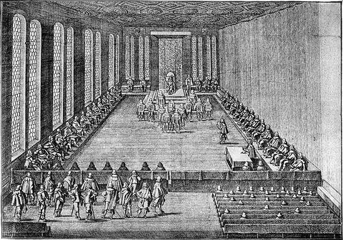 Merianstich 1640 - Sitzung des immerwährenden Reichstags in Regensburg