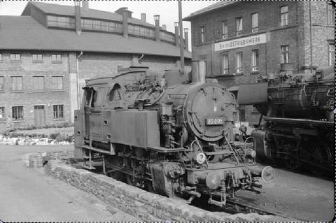 Dampflok 80 005 im Bw Schweinfurt von 1963