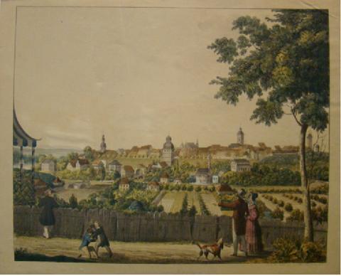 Schweinfurt 1836 von Osten (Morgenseite) Radierung von Andreas Friedrich Kornacher