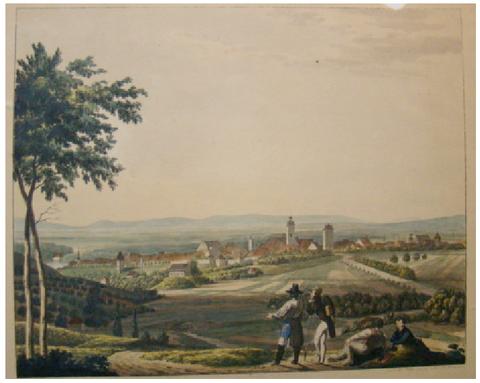 Ansicht 1836 von Norden (Mitternachtseite) mit Obertor - von Andreas Friedrich Kornacher