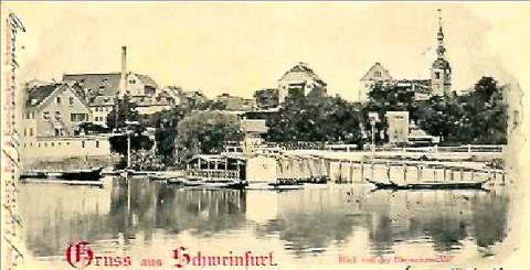 Blick von der Bleiweißmühle auf Schweinfurt 1898