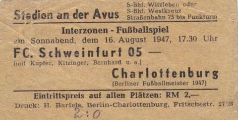 Eintrittskarte 1947 - die Partie gegen den Fußballmeister 1947 Charlottenburg endete 2:0 für den FC05 !