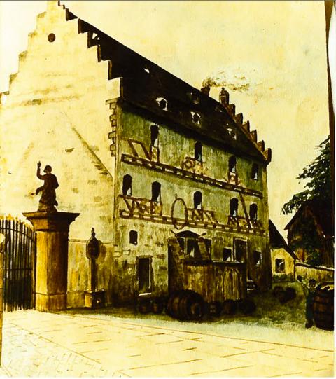 Ehemaliges Zehnt- und Brauhaus - gezeichnet von Wilhelm Ebner - wegen Baufälligkeit wurden Ende der 1920er-Jahre zwei Stockwerke abgetragen