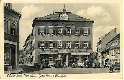 Weinstube Josef Krug am Fischerrain um 1937