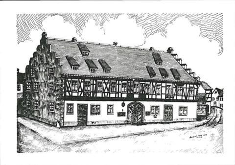Rathaus auf Einladungskarte