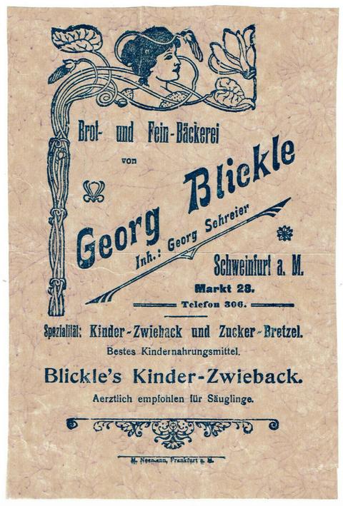 Reklamezettel aus jener Zeit (Café Georg Blickle, Inh. Georg Schreier)