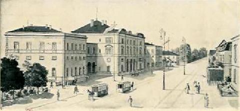 Der Schweinfurter Hauptbahnhof mit Pferdebahn