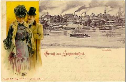 Grußkarte um 1900 mit Südansicht der Stadt