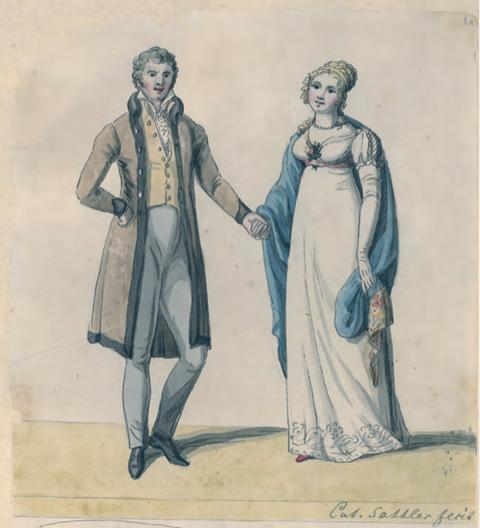 Wilhelm und Catharina Sattler, 1819; kolorierte Federzeichnung von Catharina Sattler