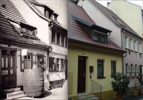 """Fischerrain Nr. 40, """"gestern"""" und """"heute"""" Foto rechts : Andreas Hedler"""