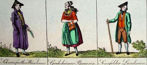 aus Kolorierter Kupferstich-Bilderbogen mit 20 Darstellungen. Bayerische National-Trachten. Nürnberg, Renner und Schuster, um 1820 - bitte vergrößern!