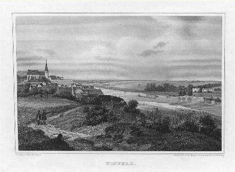 Fritz Bamberger: WIPFELD/ : Gesamtansicht und Ludwigsbad; um 1847, Stahlstich, 11x16 cm