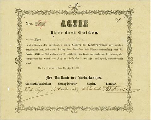 ausgegebenes Exemplar - Schweinfurt, 15.04.1863, Actie über 3 Gulden, 17,1 x 21,3 cm, schwarz, weiß