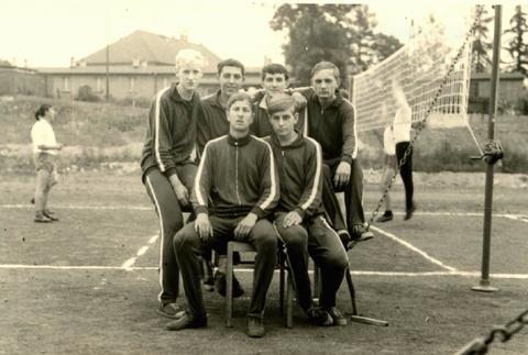 Paul Buchacker, Dietrich Sauermilch, Manfred Schlotzhauer, Hartmut Arnold,  Erhard Nürnberger und Wolfgang Ludwig 1967 zur Bezirksspartakiade in Suhlr