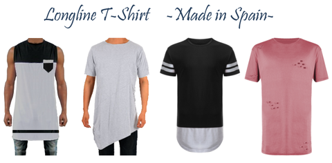 camisetas Longline T-Shirt . Fabricación de ropa personalizada., ropa hecha en España, marca de ropa Española, fabrica aquí tu ropa.