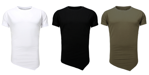 t-shirt longline. camisetas de corte largo. fabrica de camisetas en España