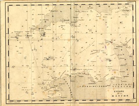 Une carte du cahier : Entrée de la Manche, avec l'île de Bas orthographiée à l'ancienne, je pense que les marins étaient attachés à cette orthographe