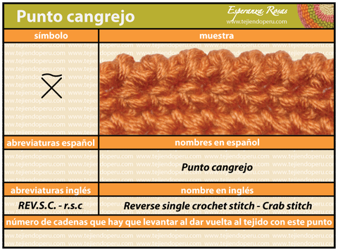 punto cangrejo crochet