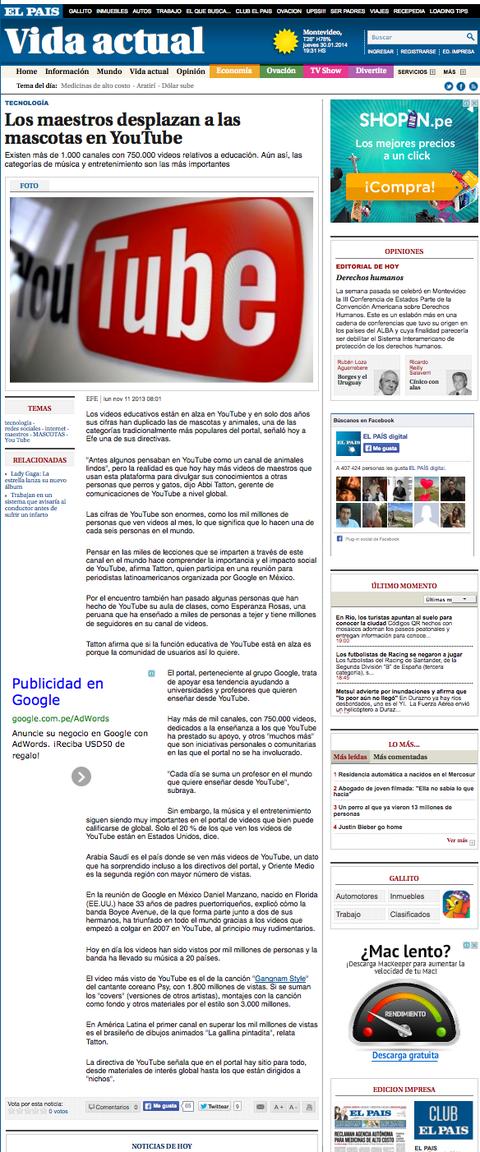 Tejiendo Perú en en diario El Pais de Uruguay